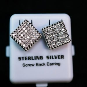 Other - 14K W.Gold Plate Iced Out Boxed Micro Pave Earring
